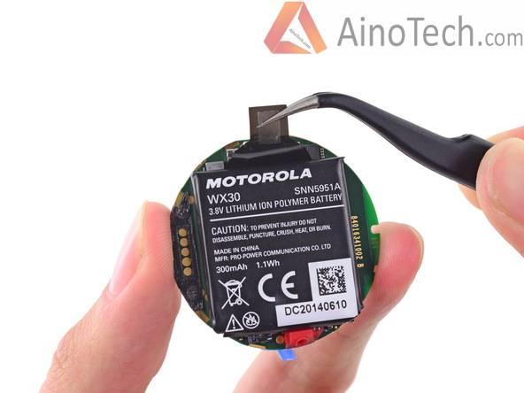 отсоединение аккумулятора Moto 360
